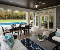 Shingle Style Home with Casual Coastal Interiors The backyard has a pool and a screened in porch wit Screened Porch Designs, Screened In Porch, Back Porch Designs, Enclosed Porches, Casa Patio, Backyard Patio, Backyard With Pool, Backyard Covered Patios, Covered Patio Design