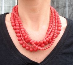 Chunky Necklace in Coral Pink Multi-Strand Statement Necklace, Serendipity Necklace. $49.00, via Etsy.