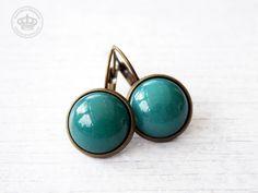 Vintage+Glass+Earrings+petrol+de+JanoschDesigns++sur+DaWanda.com