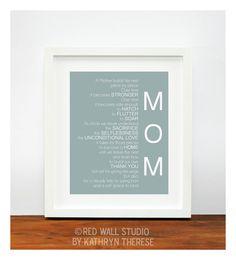 Mother of the Bride Gift for Mom Dusty Blue Art Print - Wedding Gift for Mom - Thank You Wedding Gift for Parent - Bird's Nest Original Poem. $18.00, via Etsy.