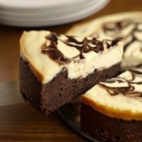 Chocolate Brownie Cheesecake -- this recipe from the CIA cooks the brownie and cheesecake at the same time.