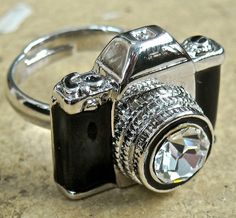 Antiqued Camera adjustable ring by pinksewingroom on Etsy, $18.00