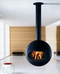 Modern Living Room Suspended Fireplace