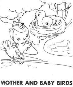 mama bird and chicks in nest