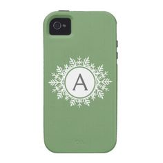 Ornate White Snowflake Monogram on Sage Green iPhone 4 Case