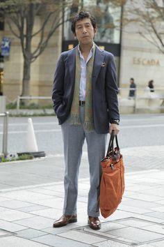 Navy sport coat, light blue shirt, light grey trousers, brown shoes