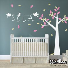 Nursery Name Tree Wall Decal With Birds Vinyl Stickers