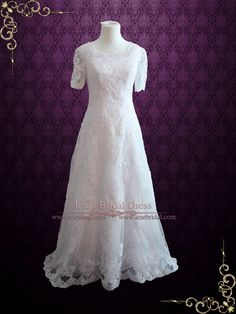Modest Lace Wedding Dress with Short Sleeves | Briseida | Ieie's Wedding Dress…
