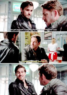 """Unlike your simple love life"" - Hook and Robin Hood #OnceUponATime"