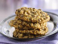Excellent Recipe. Oatmeal-Chocolate Chip Cookies recipe from Betty Crocker. Add 2 eggs instead of 1, 1 cup walnuts instead of choc chips, and 1/2 cup butter, 1/2 cup coconut oil
