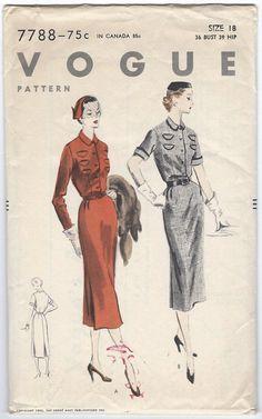 Vogue 7788 Vintage Dress Pattern Bust 36 by GothamPatterns on Etsy, $13.95