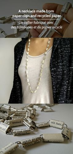 Necklace made from paper clips and recycled paper
