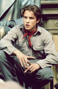 Teen Christian Bale in character as Jack Kelly in Newsies (1992)