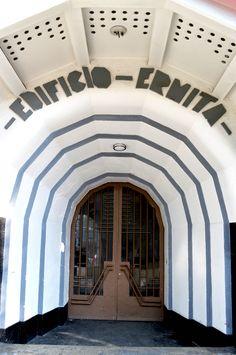 Entrance to the Edificio-Ermita in Mexico City, Mexico.
