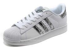 Hommes Adidas Chaussures Superstar II Publicités Blanc De Serpent  D Apos Argent €72.99  05ddfa2c4f04