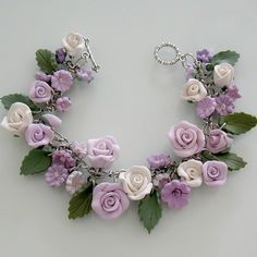 Lavender Passion Rose Charm Bracelet - Polymer Clay by Etsy artist beadscraftz $125.00