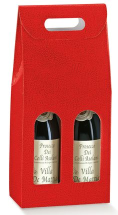 7 in.x 3-1/2 in.x 15-3/4 in. - Italian Specialty Box - Pelle Rosso/Red - 2 Bottle Carrier: Wholesale Gift Packaging Supplies - Bags, Gift Wrap, Boxes & More - New Easy Ordering - MAC Paper Supply