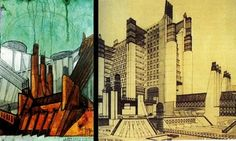 Antonio Sant'elia, Futurist architect, here with La centrale elettrica, 1914 and La Città nuova, 1914, he died before any of his elegant designs could materialize. His only realised design was an entrance to a cemetary, built after he was burried in it, dying in the First World War.