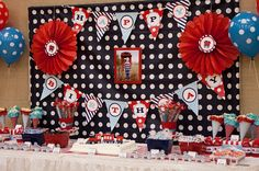 CHOO CHOO Train Birthday Party - Aqua Red Navy Coordinating Train Printables - Customized Printable Package