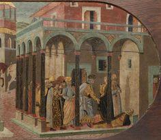 attribué à di Ser Giovanni Giovanni | Panneau de cassone : HISTOIRE NON IDENTIFIEE. E.CL.1744. Dans les arcades d'une maison, mort du jeune homme (détail).