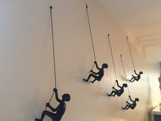 This has nothing to do with fashion so it's not my usual pin, but gosh this is awesome!!!  5 Piece Climbing Sculpture Wall Art Gift For Home Decor Interior Design Rock Climber Climbing Man Contemporary Artwork Resin