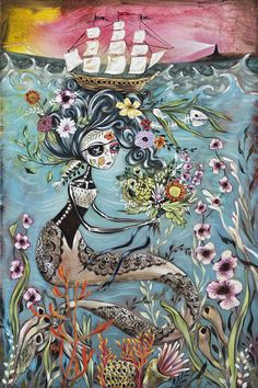 The pirate ship may never make it to shore, where the lighthouse beckons. The mermaid has captured the ship in her hair, possibly to secure a husband on board, as she is holding a bridal bouquet.  Every print has a 1/2 white border around the image and is ready to be popped into a