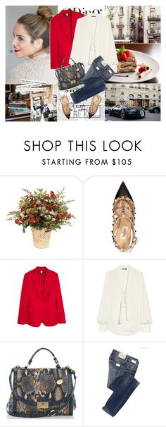 """""""Clique"""" by tamaramanhardt ❤ liked on Polyvore featuring Alexander McQueen, Prada, Valentino, STELLA McCARTNEY, Balmain, Brahmin, Replay, snake print, ankle wrap sandals and bow blouses"""