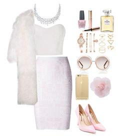 """""""Chanel Oberlin"""" by dancergirl109 ❤ liked on Polyvore featuring Mary Katrantzou, Monique Lhuillier, Sophia Webster, Chloé, Anne Klein, Forever 21, By Terry, Chanel, OPI and women's clothing"""