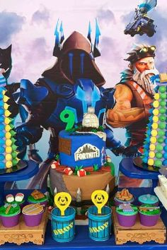 Check out this awesome Fortnite birthday party! The birthday cake is fantastic! See more party ideas and share yours at CatchMyParty.com