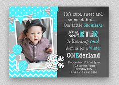 Boys 1st Birthday Invitation  Snowflake by TheTrendyButterfly