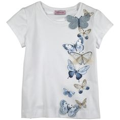 White stretch cotton jersey T-shirt. Round neckline and short sleeves. Fancy print trimmed with rhinestones on the chest. Machine washable at 30°C. - £ 36,00