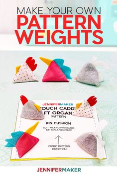 DIY Pattern Weights in Chicken, Unicorn, and Bunny Shapes -- Easy to Make, Free Pattern and SVG Cut File #sewing #cricut #fabric Small Sewing Projects, Sewing Projects For Beginners, Diy Craft Projects, Sewing Hacks, Sewing Crafts, Sewing Tips, Sewing Ideas, Project Ideas, Sewing Patterns Free