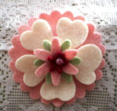 Felted wool flower pin: