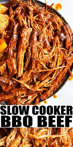 SLOW COOKER SHREDDED BEEF RECIPE- Easy crockpot bbq pulled beef, homemade with simple ingredients. This melt in your mouth, juicy, tender chuck roast pulled beef is full of barbecue sauce, spices and lots of paprika. From SlowCookerFoodie.com