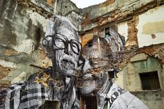 """awkwardsituationist:  """"in may 2012, JR collaborated with artist josé parlá on the latest iteration of the wrinkles of the city: a huge mural installation in havana, undertaken for the havana biennale, for which JR and parlá photographed and recorded 25 senior citizens who had lived through the cuban revolution, creating portraits which parlá, who is of cuban descent, interlaced with palimpsestic calligraphic writings and paintings."""