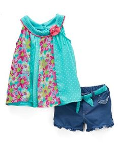 Another great find on #zulily! Green Floral Ruffle Top & Shorts - Infant, Toddler & Girls #zulilyfinds