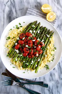 Lemon Millet with Grilled Asparagus and Blistered Tomatoes – A simple flavorful whole foods recipe. (Vegan & GF) Recipe @ NomingthruLife.com