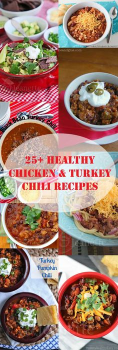 25+ Healthy Chicken and Turkey Chili Recipes ~ use your crockpot for a no-fuss dinner. Serve with quinoa and a simple salad for a healthy meal. http://jeanetteshealthyliving.com