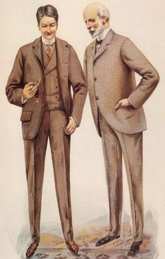 Sack Coat: fitting coat hanging straight down from the shoulders, particularly as worn by men (sometimes as part of military uniform) Victorian Mens Clothing, Victorian Mens Fashion, 1890s Fashion, Vintage Fashion, Men's Fashion, Victorian Dresses, Historical Costume, Historical Clothing, Men's Clothing