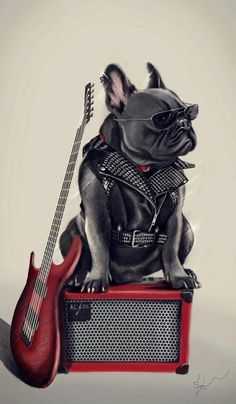 Rock Dog with guitar and amplifier. #music #musicart #artwork www.pinterest.com/TheHitman14/music-art-%2B/