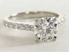 Cathedral Pavé Diamond #EngagementRing in Platinum from bluenile.com