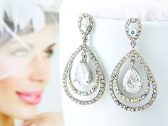 Bridal Earrings Wedding Earrings Wedding by goddessdesignsgems, $48.00