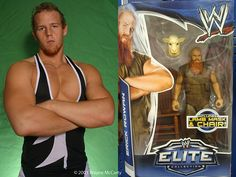 Then and now- WWE's Erik Rowan action figure and a posed photo from 10 years ago when he started pro wrestling. Back then he was known as Thoruf Marius.