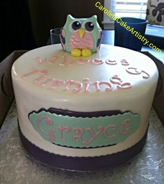 Whooos Turning 9, Owl Birthday Cake! So cute!  :-)
