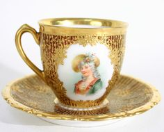 Antique Dresden Hand Painted Portrait Cup Saucer Set