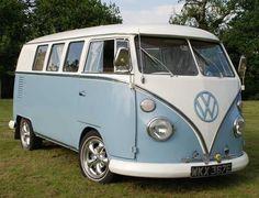 retro light blue vw campervan