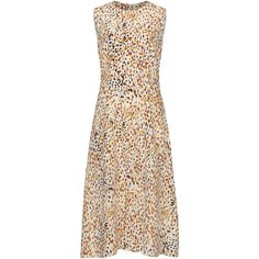 Dolce & Gabbana Sleeveless Printed Dress (105.520 ARS) ❤ liked on Polyvore featuring dresses, print, no sleeve dress, crew neck dress, sleeveless midi dress, fitted tops and midi dress