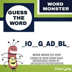 Can you guess the #word?    #wordmonster #GreenoBag follow the hint and guess the word!