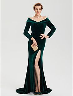 a51625ba0b Sheath   Column Off Shoulder Sweep   Brush Train Velvet Celebrity Style  Formal Evening Dress with Split by TS Couture®