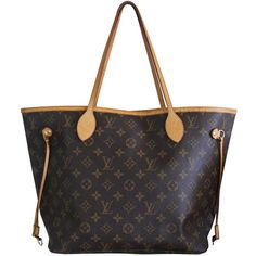 Pre-owned Louis Vuitton Neverfull MM Monogram Canvas Handbag Tote found on Polyvore